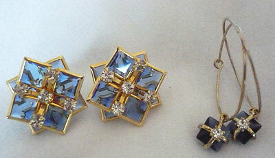 Vintage bling earrings with large square blue faceted & clear RS + bonus pair
