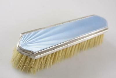 Antique Art Deco Fine Brush Comb Sterling Silver Enamel Guilloche