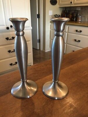 "Set of 2 - Restoration Hardware 8.75"" Candlesticks Holders Brass or Pewter India"