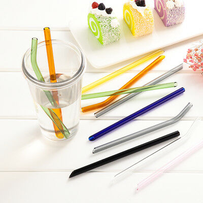 Fashion Multi-color Reusable Glass Straight & Bend Pipette Pyrex Drinking Straw