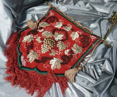 Antique tapestry and beadwork firescreen, Victorian, original fittings