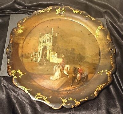 Early Victorian papier mache tray, hand painted, medieval scene, signed
