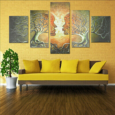 5 Panels Modern Abstract Love Lady Tree Canvas Painting Prints Wall Art Decor