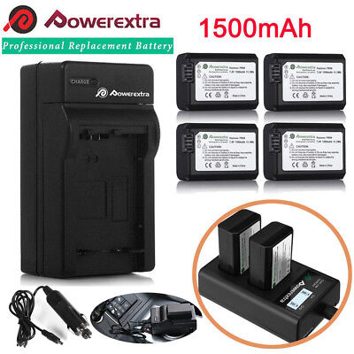 NP-FW50 Battery for Sony Alpha A6500 A6300 A6000 A7r A7 & LCD Dual USB Charger