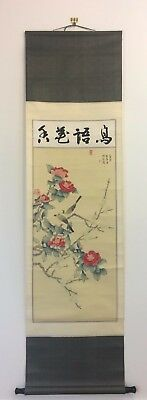 Vintage Japanese kakejiku hanging scroll, birds, Japan import 175cm (AE1810)