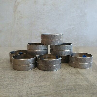 8 Vintage Silver Plated Napkin Rings Retro Textured 1960s Unpolished Retro