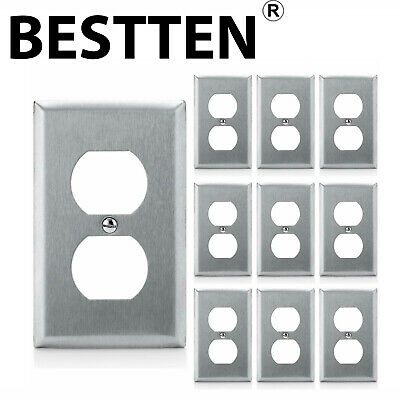 10PK BESTTEN 1-Gang Stainless Steel Duplex Wall Plates Metal Outlet Face Cover
