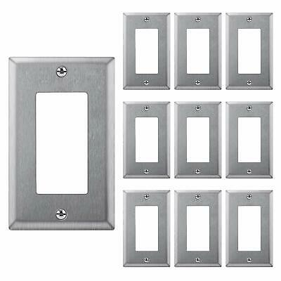 10PK Decorator GFCI Stainless Steel Wall Plate 1 Gang Switch Metal Outlet Covers