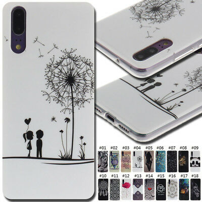 For Huawei Painted Soft Fashion Various Rubber Back Shell Case Cover Skin TPU