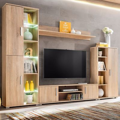 Modern Style TV Wall Unit with LED Lights Sonoma Oak Living Room Furniture Set