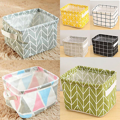 Foldable Fabric Toy Storage Box With Handle Cotton Linen Grid Cube Bag Organizer