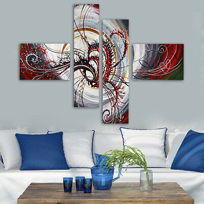 Style Abstract Red Modern 4Pcs Canvas Print Painting Home Wall Hanging Art Decor