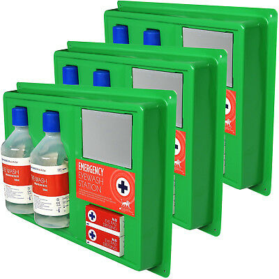 3x Large Workplace Office Warehouse Wall Mountable Eye Wash Solution Stations