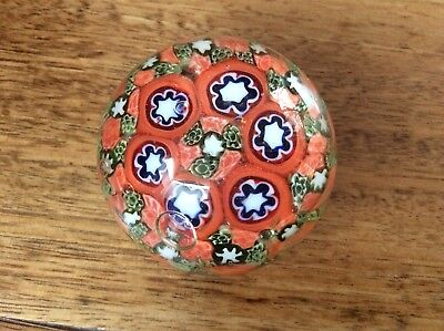 Small Millefiori Art Glass Paperweight - unsigned - Tones of orange