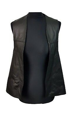 VINTAGE Leather Waistcoat Size L Black w/Silver Chains Real Leather Rock Biker