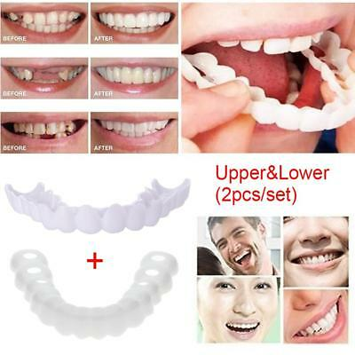 Upper&Lower Silicone Denture Instant Comfort Fit Cosmetic Teeth Cover #F