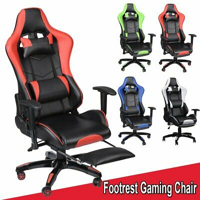 Gaming Chair Office Executive Recliner Racing Adjustable Fx Leather W/ Footrest
