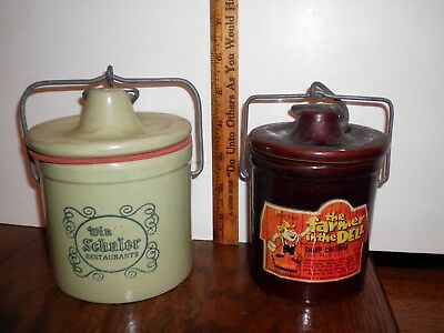 Lot Of 2 Vintage Cheese Crocks  Win Schuler Farmer In The Dell Bail Wire Lid
