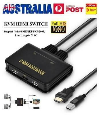 2Port USB HDMI KVM Switch Switcher With Cable for Dual Monitor Keyboard Mouse AU