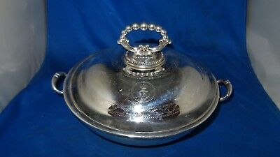 Lovely Royal Navy Officers Mess Lidded Warming Tureen C.1890 Silver Plate