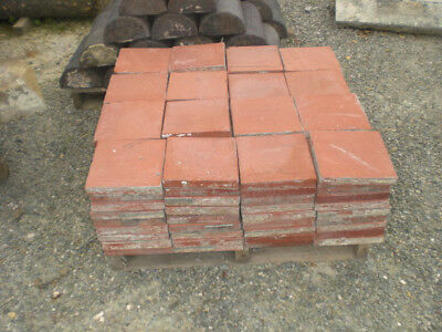 Red Reclaimed Floor Flooring Tile Square 9 inch by 9 inch Salvage