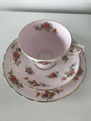 Royal Tuscan Pink Floral 2.75 Inch Tea Cup & Saucer & Side Plate Trio c1950