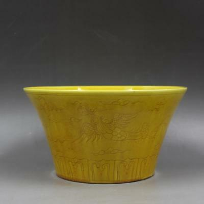 Beautiful Chinese Antique Ming Yellow Glazed Porcelain Phoenix Bowl