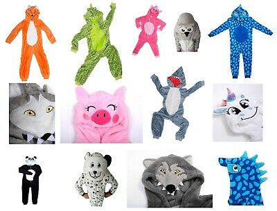 Kids Boys Girls Animal Character All In One Dressing Gown Robe Winter Warm Gift