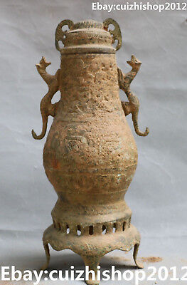 "14"" Old Chinese Bronze Ware Ancient Dragon Beast Flower Vase Bottle Jar Statue"
