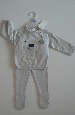 Premature preemie tiny Baby boys clothes knitted two piece set 0-3  months NEW