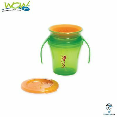 JUICY! WOW Gear Baby Translucent Spill Free Training Cups | 9+mth | Green/Orange
