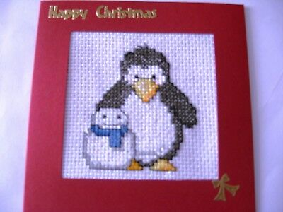 "Christmas Card Completed Cross Stitch  Penguin & Snowman 5.5""sq"