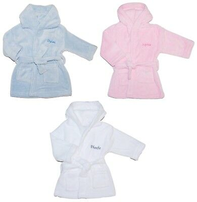 Baby Unisex Boy Girl Personalised Dressing Gown Bathrobe Embroidered