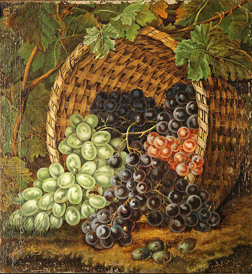 19th Century Green Black Red Grapes in Basket Impressive Still Life Painting