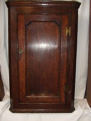 Antique George Ii Oak Hanging Corner Cupboard