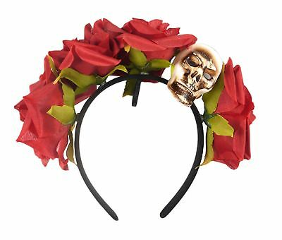 Adult Ladies Floral Rose Red Day of the Dead Headband Fancy Dress Halloween New