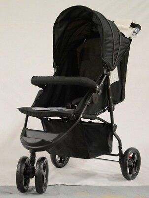 Zobo Three Wheeled Stroller In Black Baby Pushchair Lightweight Buggy Pram