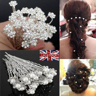 40x Pearl Flower Diamante Crystal Hair Pins Clips Prom Wedding Bridal Party lot