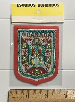 NIP Granada Spain Espana Castle Lion Shield Crest Spanish Souvenir Felt Patch