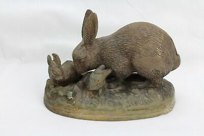 Vintage Antique Brass Rabbit Rabbits Family Figurine Heavy Paper Weight 6.25""