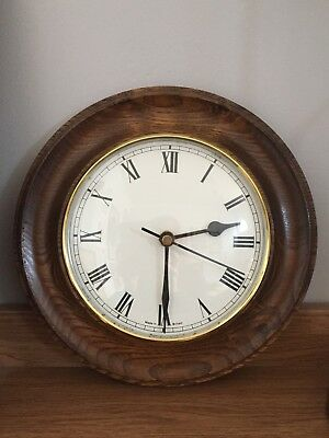 Vintage Quality Real Wood Wall Clock Roman Numerals