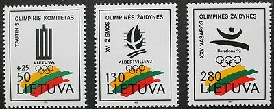 Winter Olympic games stamps, emblem colours Lithuania 1992, SG ref: 501-503, MNH