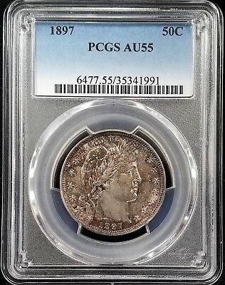 1897 Barber Half Dollar certified AU 55 by PCGS! A toned beauty!