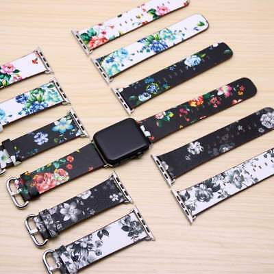 Apple Watch Band Flower Print Floral Design Leather Bracelet Series 4 3 2 1 Nike