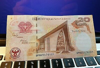 PAPUA NEW GUINEA Commemorative 20 KINA BANKNOTE UNC-35th Ann Bank of PNG Logo