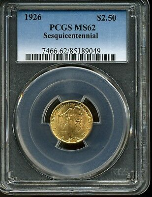 1926 G$2.5 Sesquicentennial Commemorative Gold Quarter Eagle MS62 PCGS 85189049