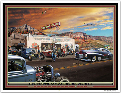 Hot Rod Art Print by Larry Grossman ROADKILL RAMPAGE ON ROUTE 66