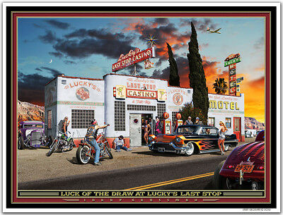 Hot Rod Art Print by Larry Grossman LUCK OF THE DRAW - Harley Davidson