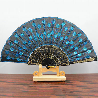 Spanish Style Dance Wedding Party Lace Silk Folding Hand Held Flower Fan WL