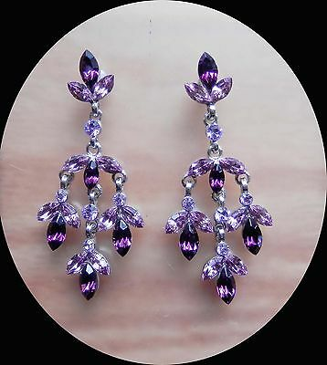 Vintage Chandelier Earrings Amethyst Rhinestone Bridal Earrings E4133A